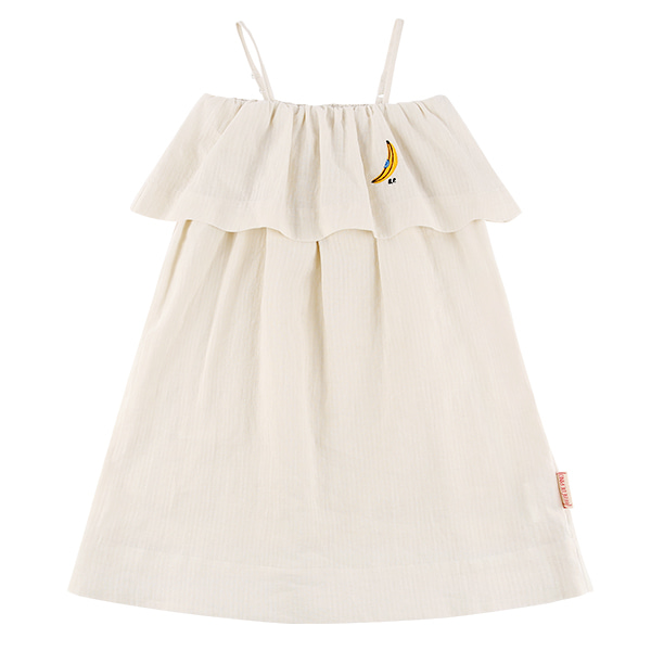 Banana ruffle tube top cotton dress