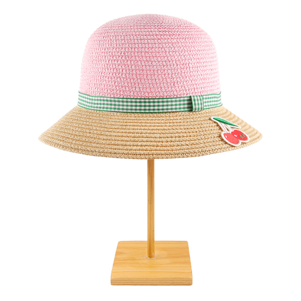 Cherry color block pink straw hat