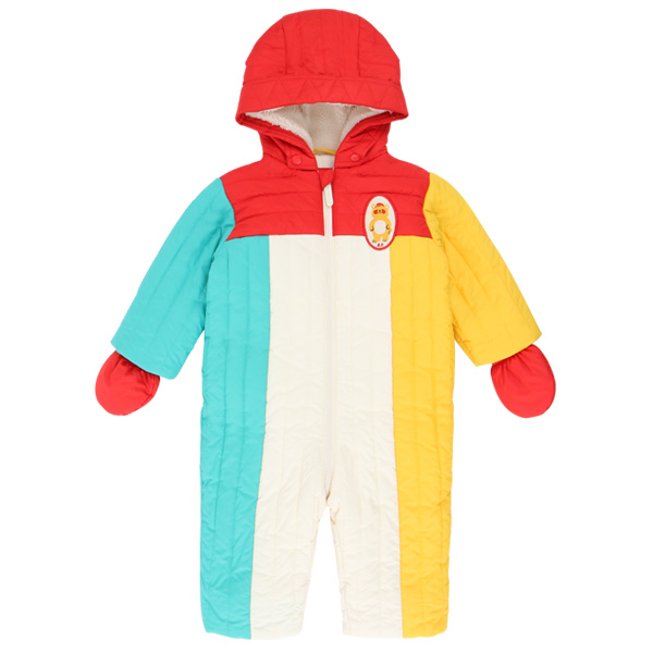 Bear baby color block padding overall