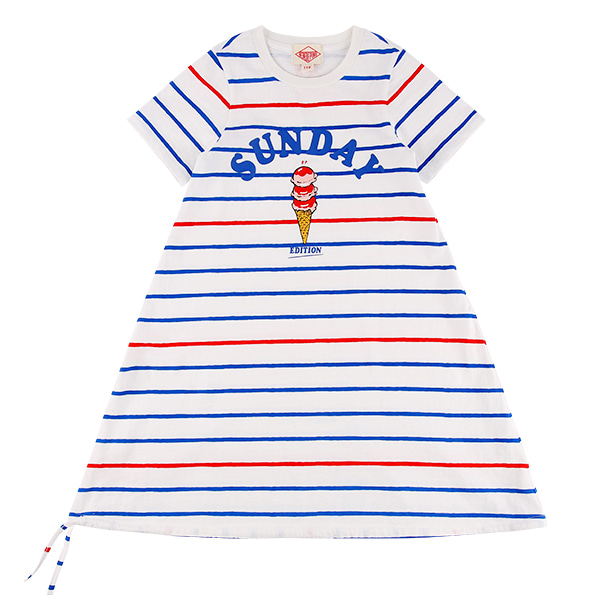 Sunday stripe short sleeve jersey dress  NEW SUMMER