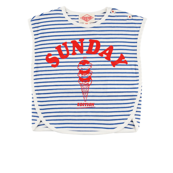 Sunday ice cream baby stripe sleeveless tee  30% sale