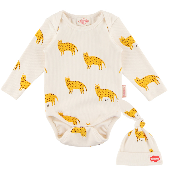 Multi cheetah baby bodysuit set