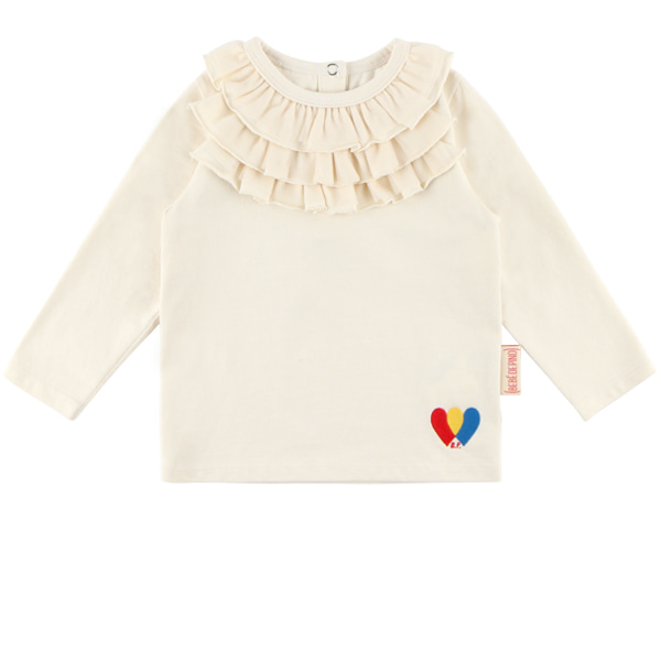 Heart baby neck ruffle tee  NEW FALL