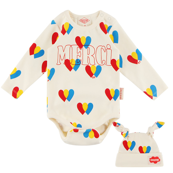 Multi heart baby bodysuit set