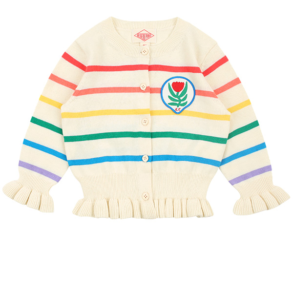 Multi stripe tulip baby ruffle sweater cardigan  NEW SPRING