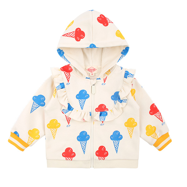 Multi ice cream baby ruffle zip up jacket  NEW SPRING