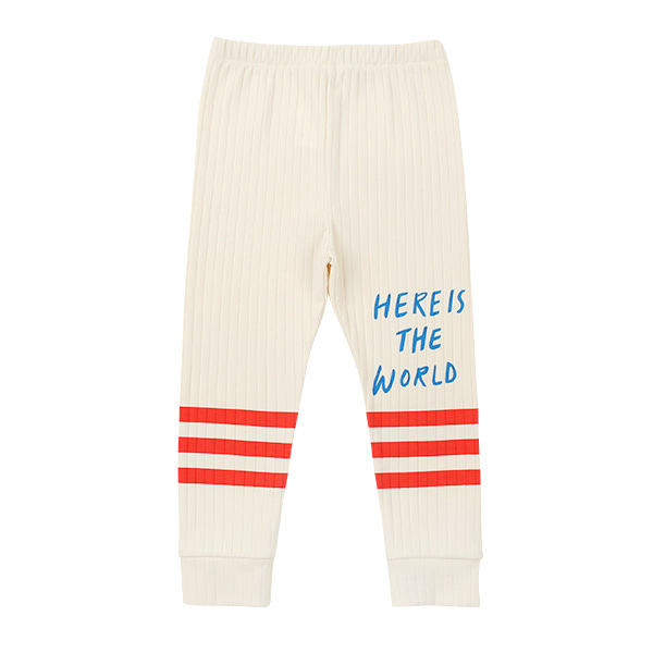 Lettering stripe ribbed leggings