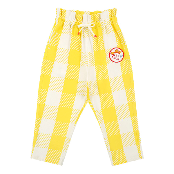 Ducky check ruffle pants