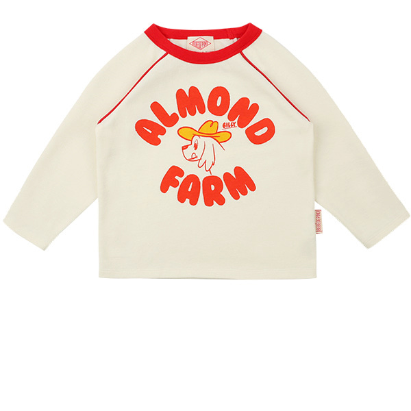 Almond farm raglan long sleeve tee