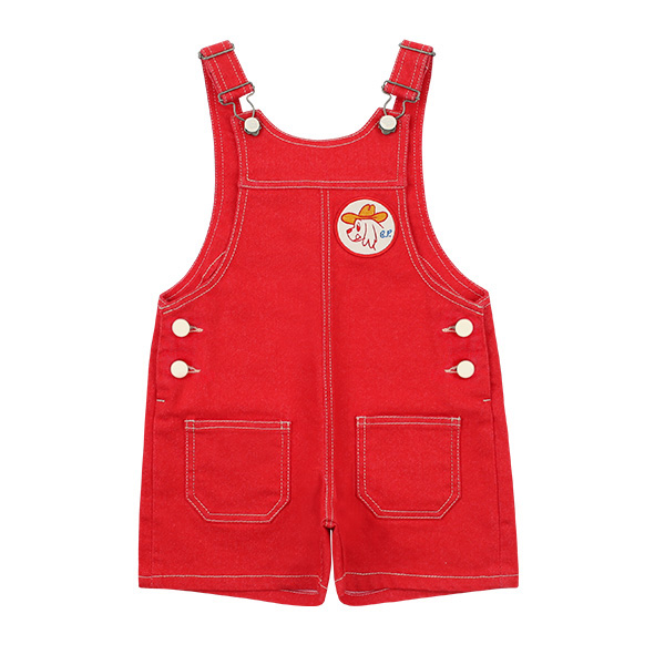 Ducky out pocket red denim overall