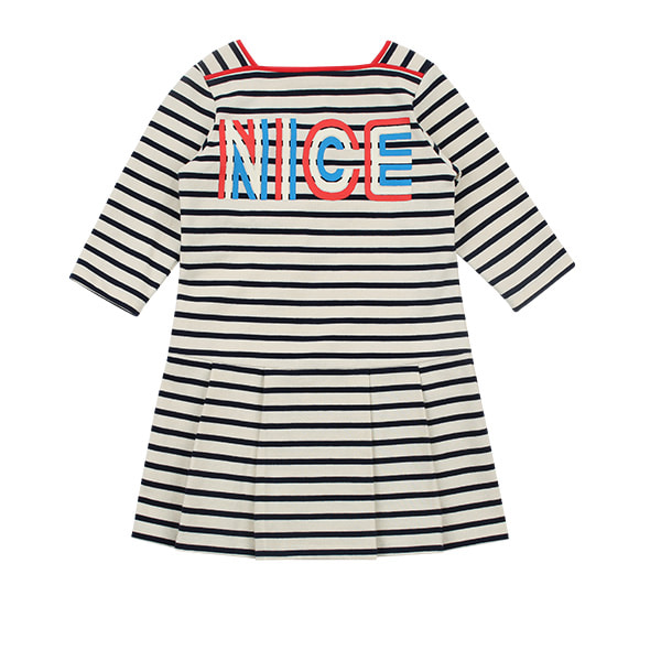 Nice stripe pleats three quarter sleeve dress
