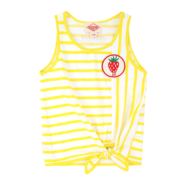 Strawberry striped ribbon tie tank top  NEW SUMMER