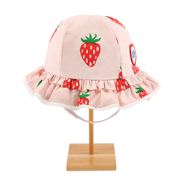 All over strawberry baby ruffle lace bucket hat  NEW SUMMER