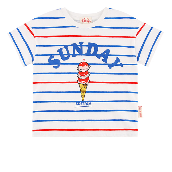 Sunday stripe drop shoulder short sleeve tee  30% sale