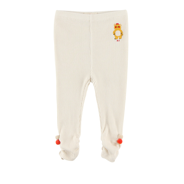 Bear baby shirring ribbed leggings