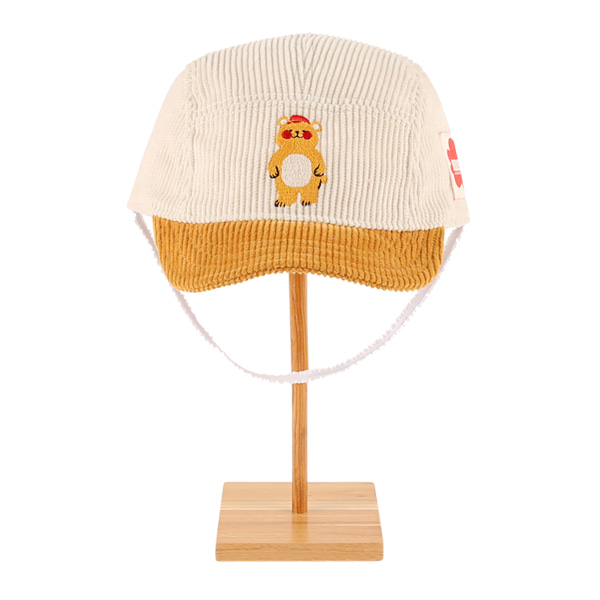 Bear baby corduroy camp cap