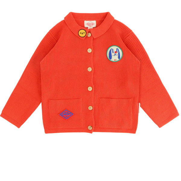Puppy out pocket scarlet cardigan_