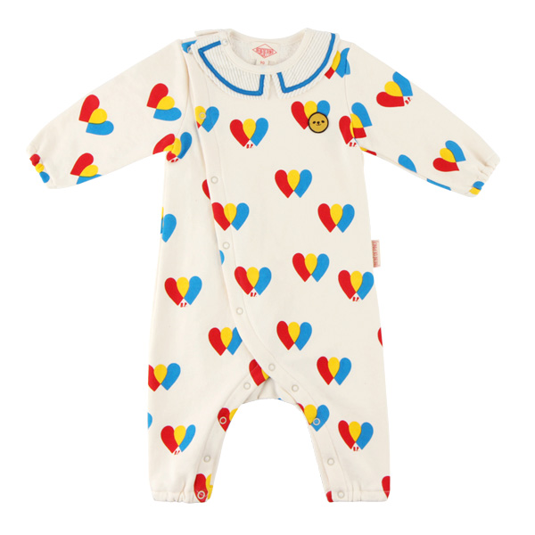 Multi heart baby collar overall