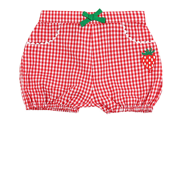 Strawberry baby red gingham check short pants  NEW SUMMER